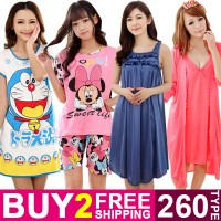 Cute Cartoon Sleepwear Women Silk Pajamas Dress Short Sle